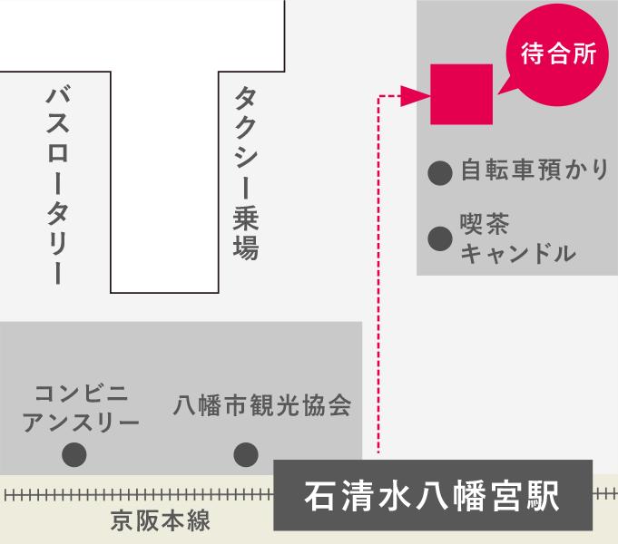 石清水八幡宮駅のバス待合所の地図