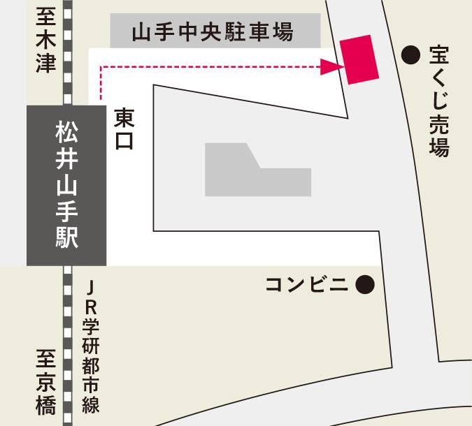松井山手駅のバス待合所の地図